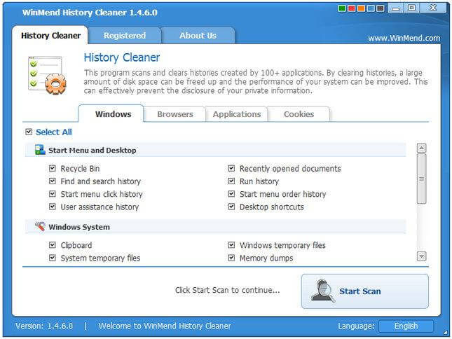 WinMend History Cleaner